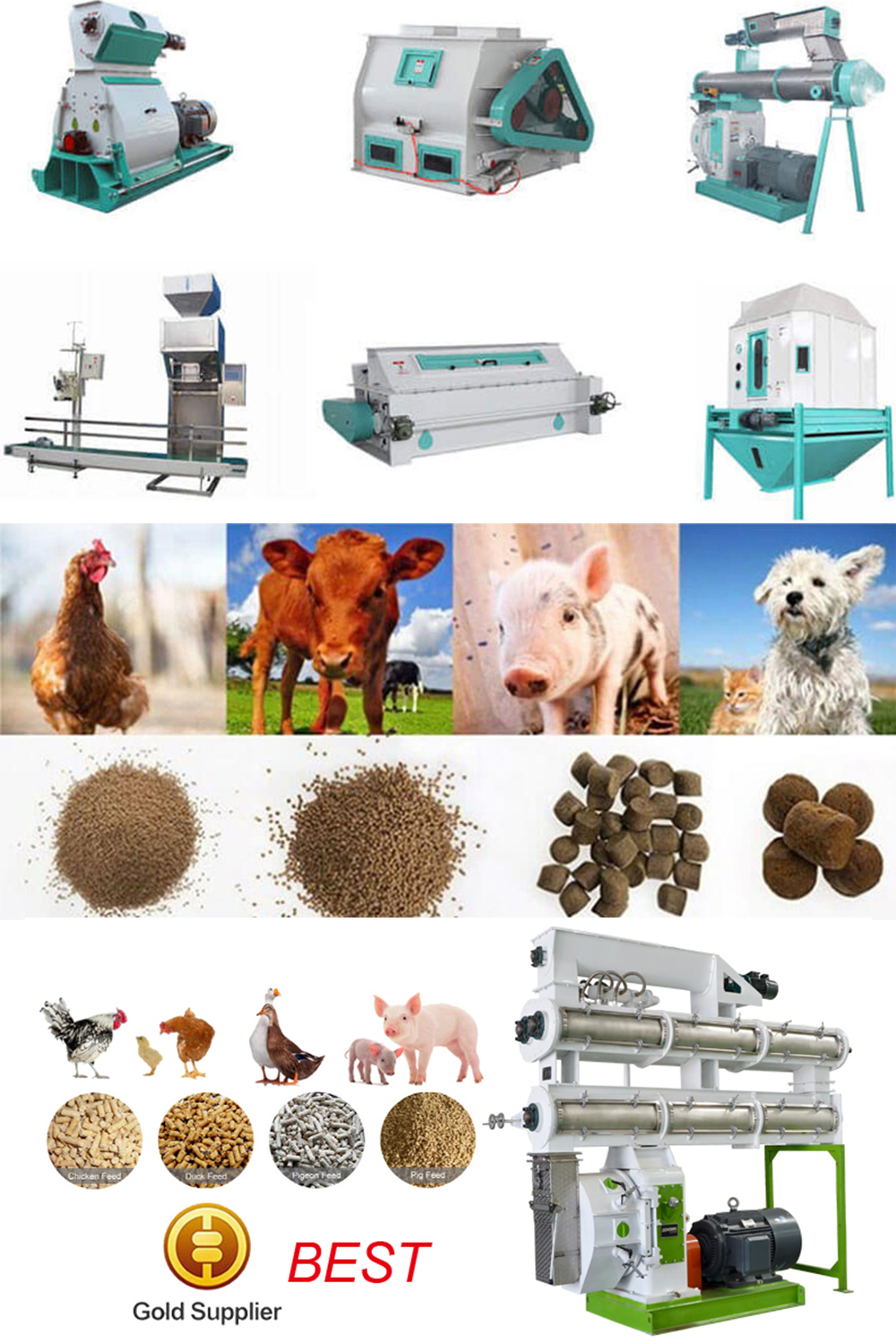 Feed Pellet Mill Machine Making Animal Feed Pellets From Wheat Straw